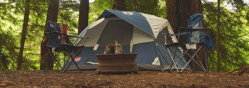 Et telt i en grøn skov