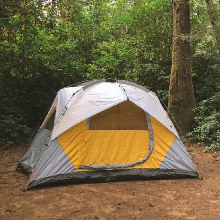 Hvidt telt i skoven