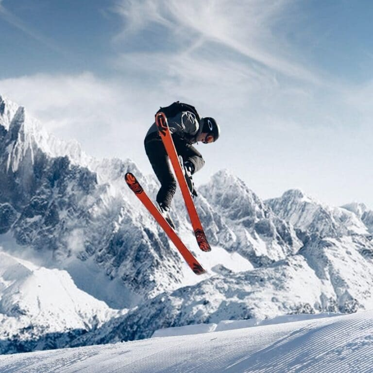 Orange twintip ski