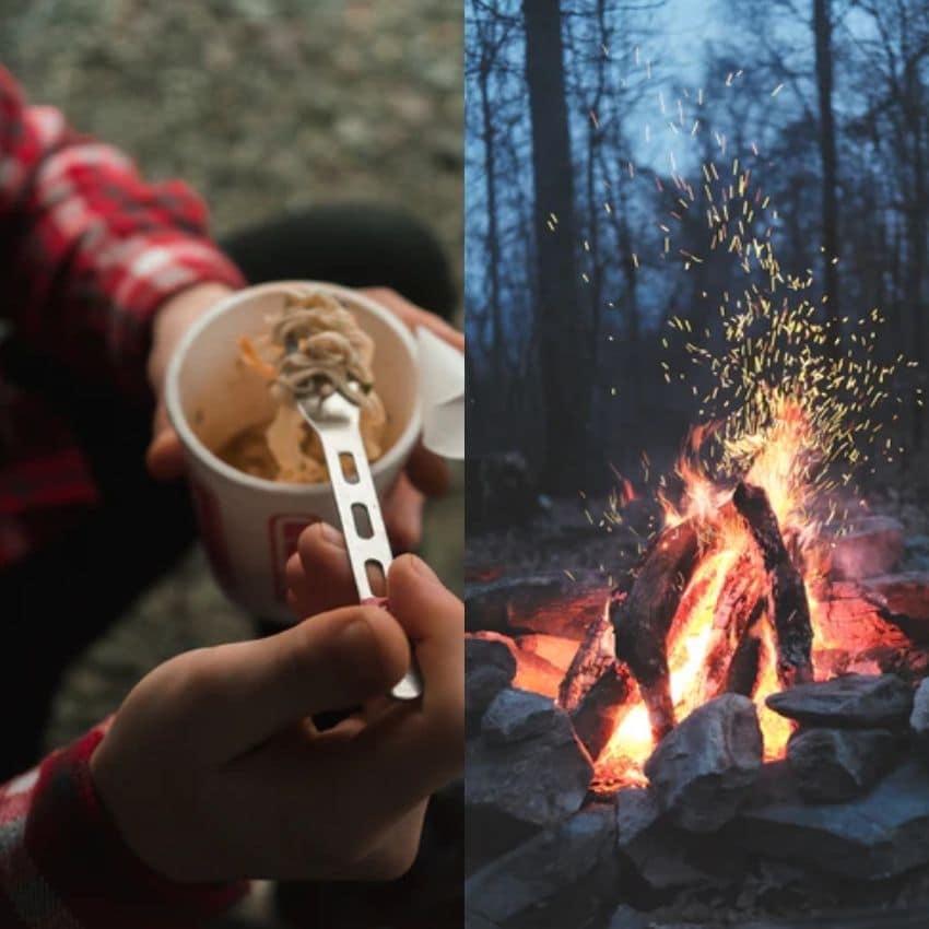 Mad og et bål som en del af et vinterfriluftsliv
